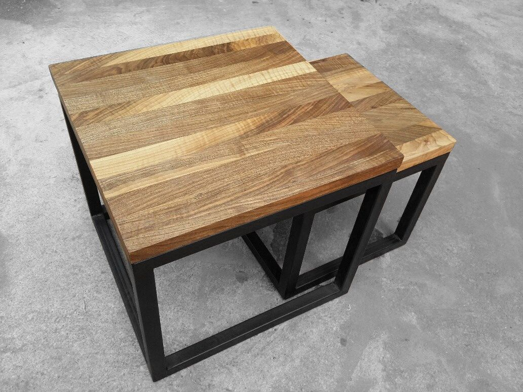 Two Club Tables Made Out Of Walnut Wood 40x40 Cm Height 35 Cm