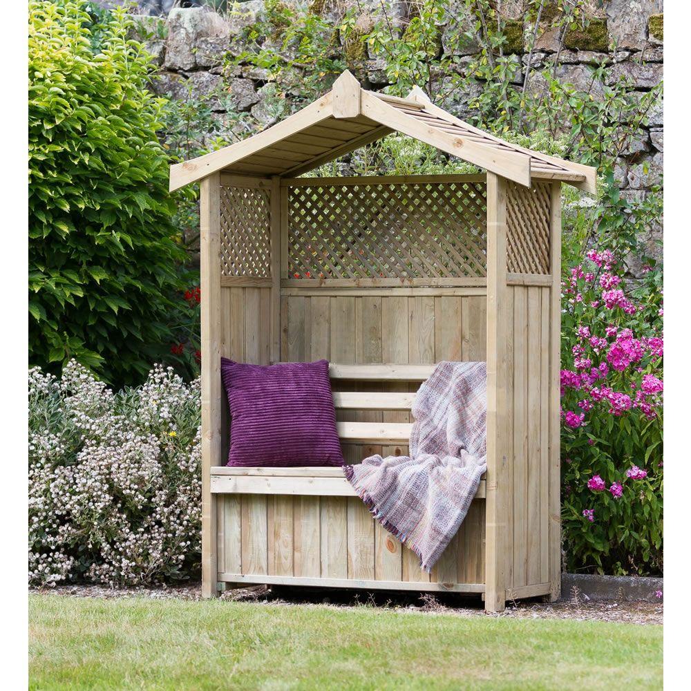 Zest leisure dorset arbour seat and storage box wooden arbour