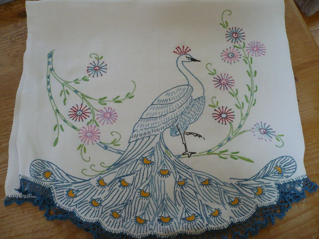 Outline embroidery designs for tablecloth - Hand Embroidered Crochet Peacock Towel