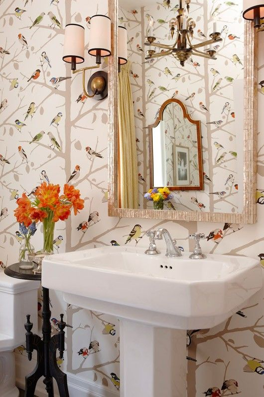 Wallpaper With Birds powder room: whimsical details. | int.dsgn::bathroom | pinterest