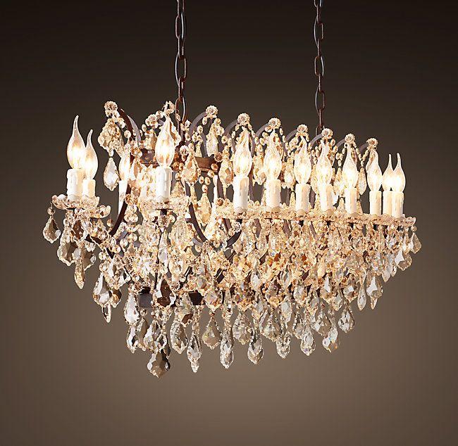 19th C Rococo Iron Clear Crystal Rectangular Chandelier 51