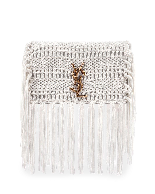 Yves Saint Laurent Monogram Crochet Fringe Clutch Bag 2348cfee32c8c