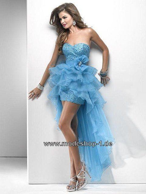 Blaues Vokuhila Kleid Abendkleid 2019 Online Vorne Kurz ...