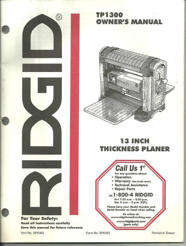Owner S Manual For A Ridgid Tp1300 13 Inch Thickness Planer Pn