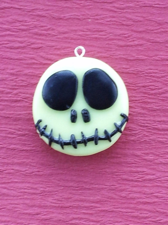 Halloween Polymer Clay Jack Skellington Charm: Glow in the Dark ...
