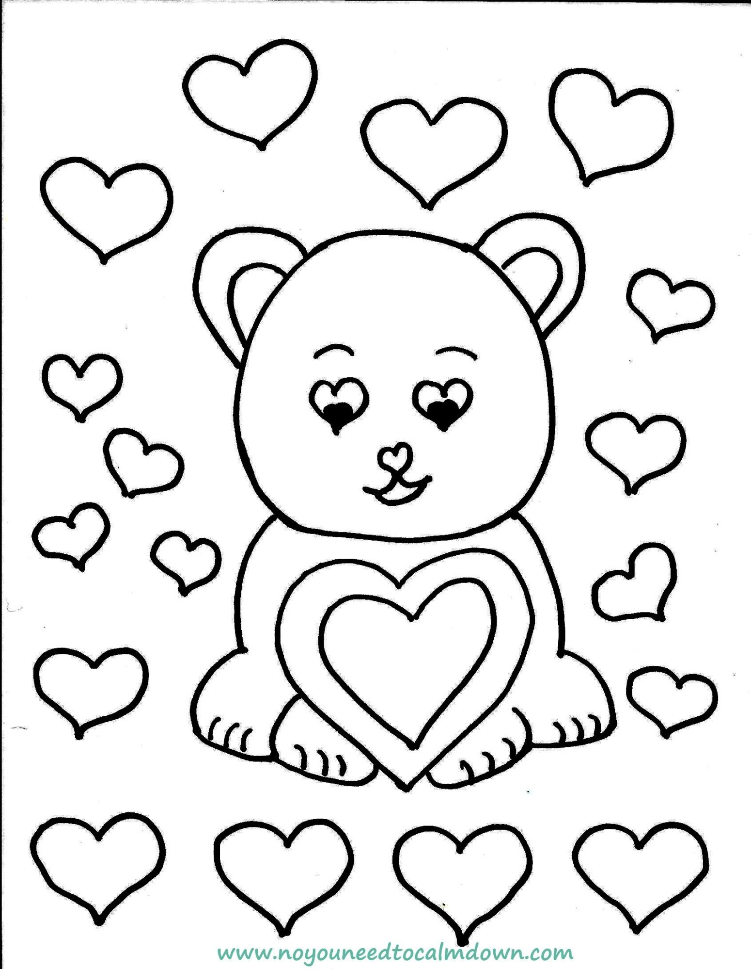 Cute bear valentines day coloring page free printable kids