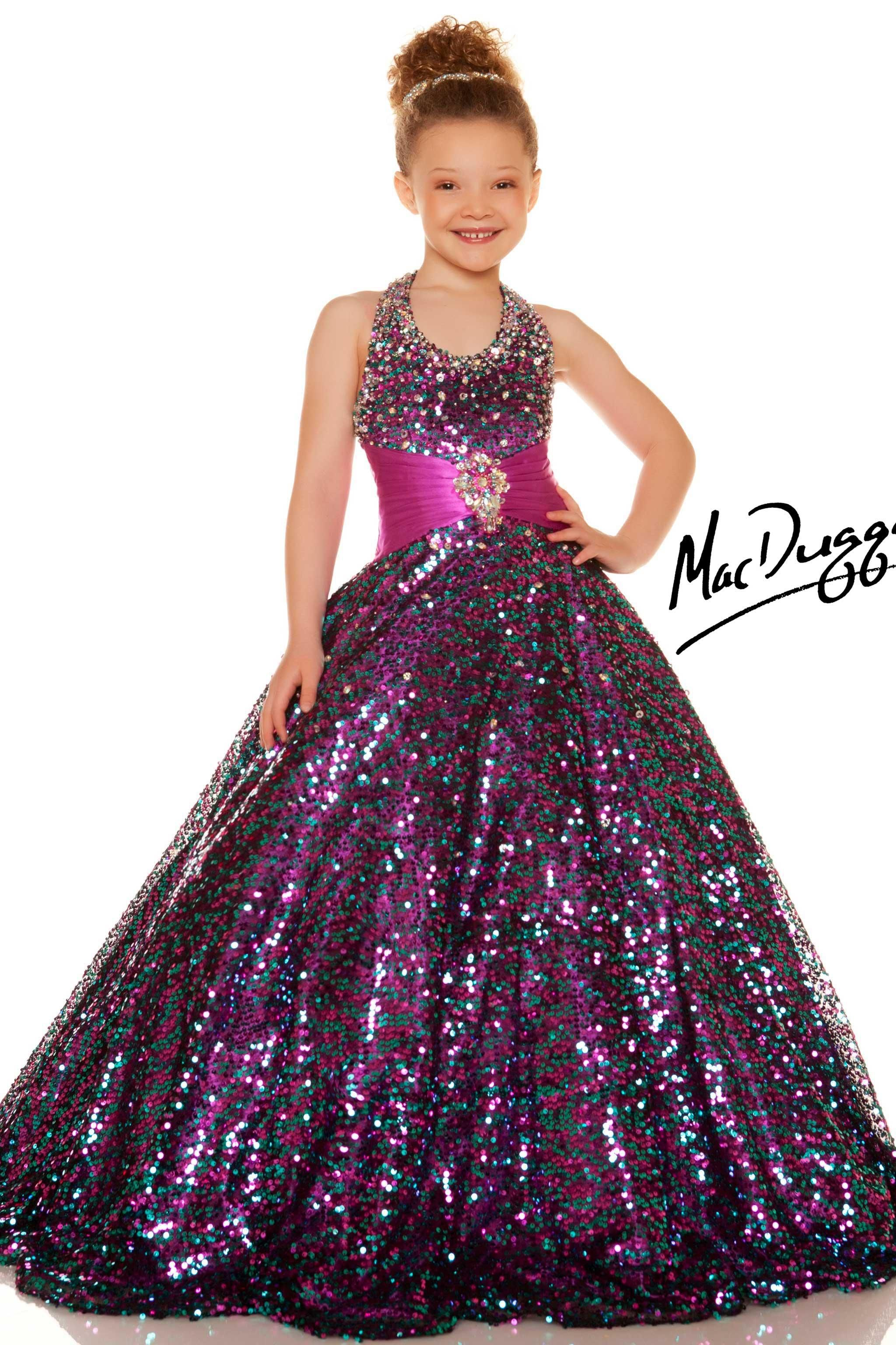 Girls Sequined Gold Pageant Dess - 42617S | Mac Duggal | Pageant ...