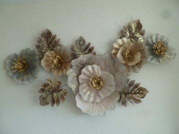 Wanddecoratie Metaal 3d Pale Flowers Bloemen Wanddecoratie Metaal Dekogifts Metal Wall Decor Wall Art Living Room Metal Wall Art