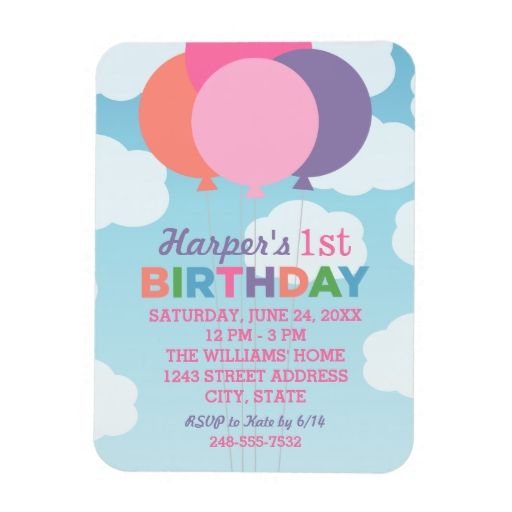 Birthday party invitation colorful balloons vinyl magnet 1st birthday party invitation colorful balloons vinyl magnet filmwisefo Choice Image