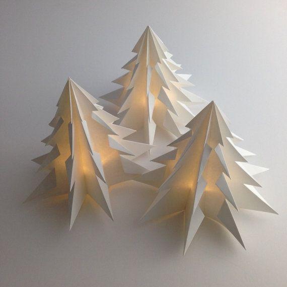 3 Pack Christmas Tree Decoration Or Gift Led Warm Light White Etsy Elegant Christmas Decor Paper Christmas Decorations White Paper Lanterns