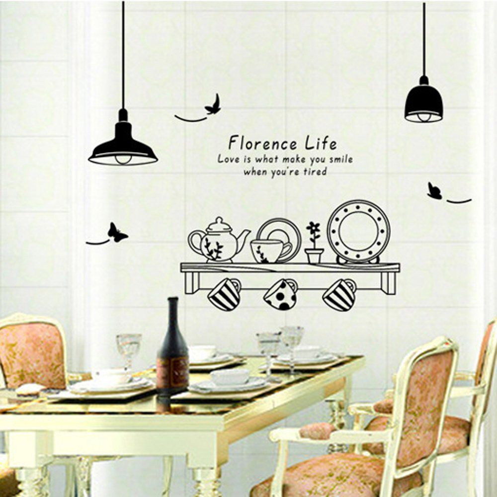 details about large coffee kitchen wall quote stickers cafe vinyl art decoration décor diy on kitchen decor quotes wall decals id=74883