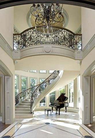 Gorgeous Staircase ~ Entryway ~ Grand Piano ~ Cream Room  Like The Stairs,  But LOVE The Piano!