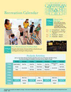 Caribbean Beach Resort Recreation Activities Calendar Guide
