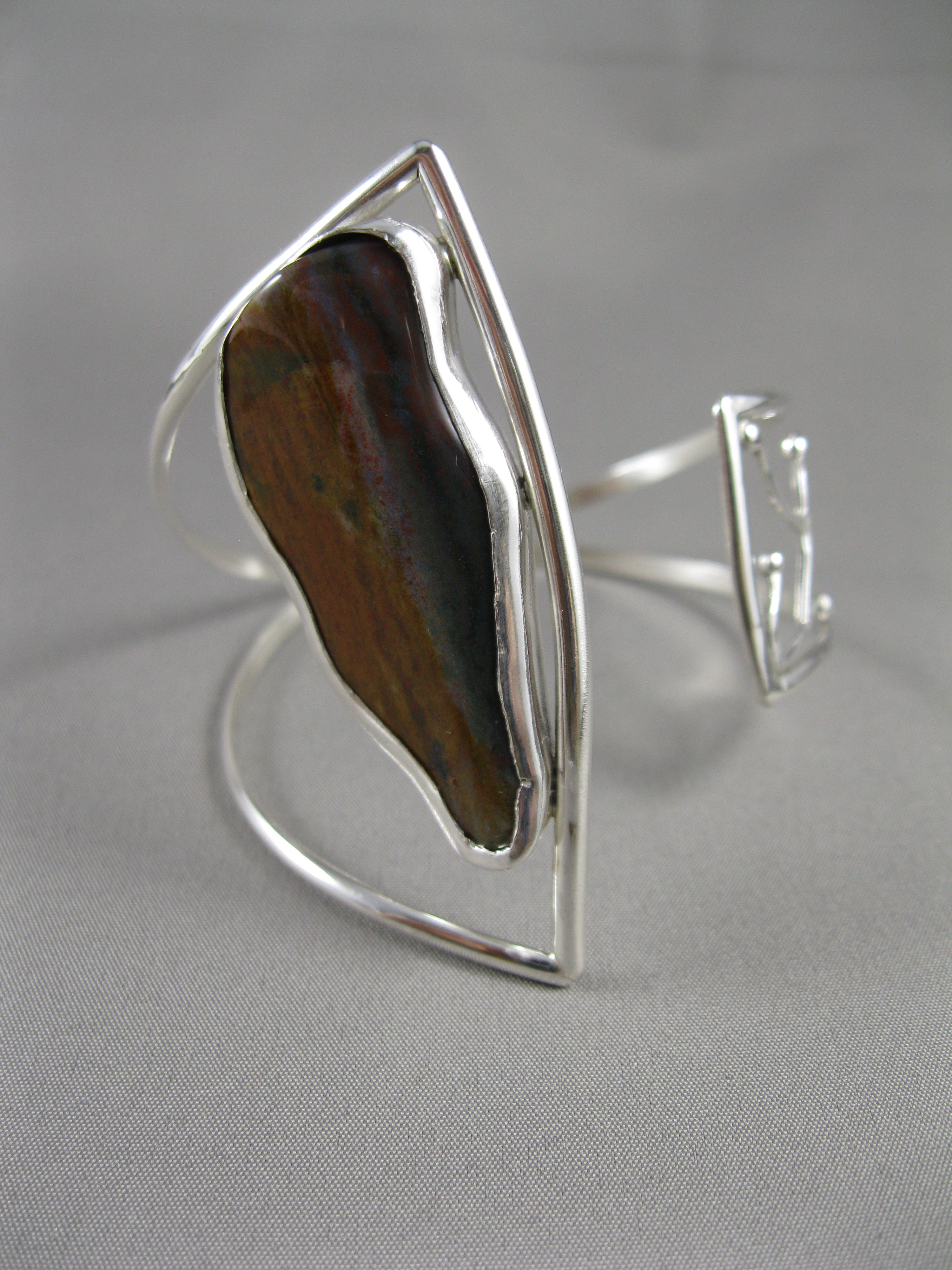 Petrified wood and sterling silver asymmetrical bracelet www.leahbealdesign.com