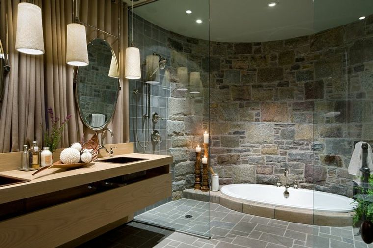 Cuarto de baño de madera y piedra - 42 diseños - Baños lujosos - baos lujosos