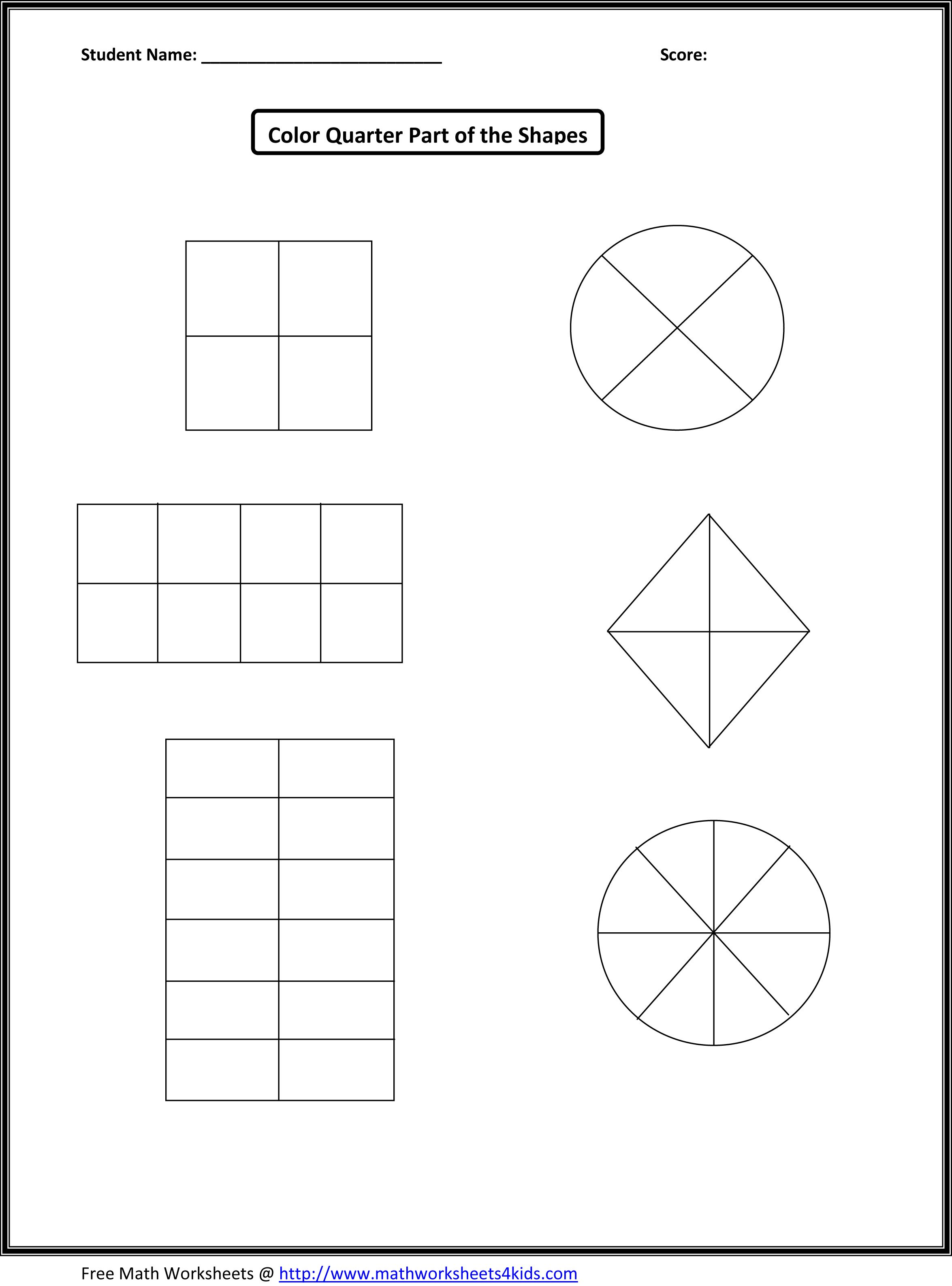 Worksheets First Grade Fractions Worksheets this would work for first grade fraction number sense assessment but i have them color a different of each shape