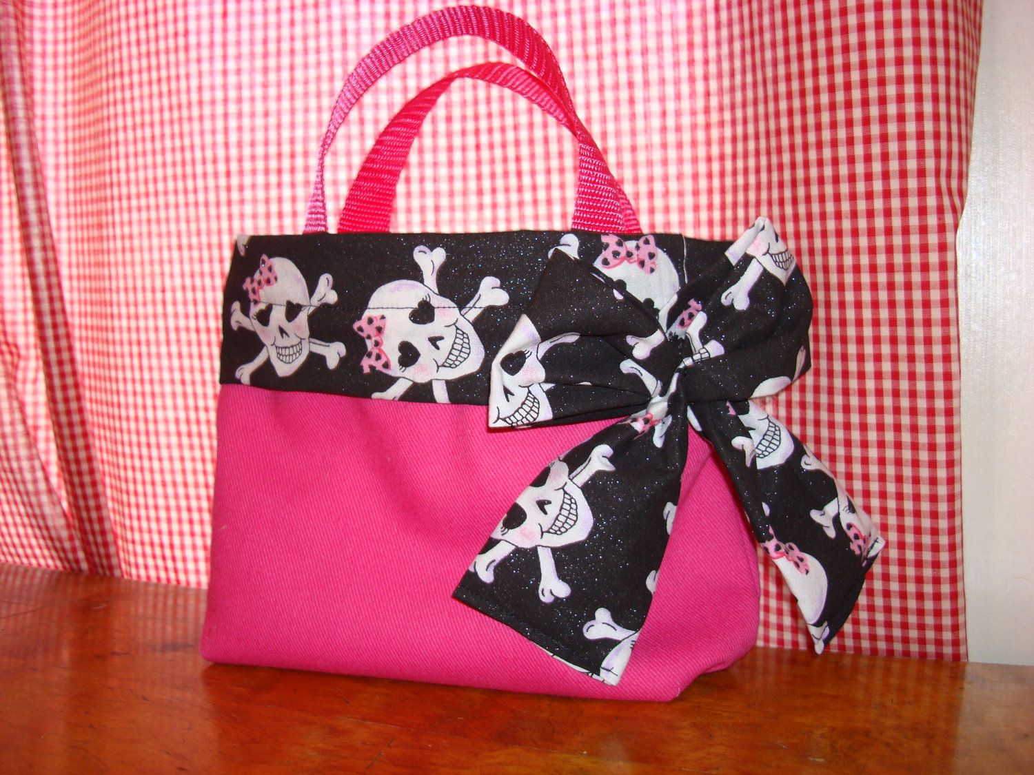 Skull with Bow Small Pink Purse Tote with Bow by NecisDesigns, $25.00
