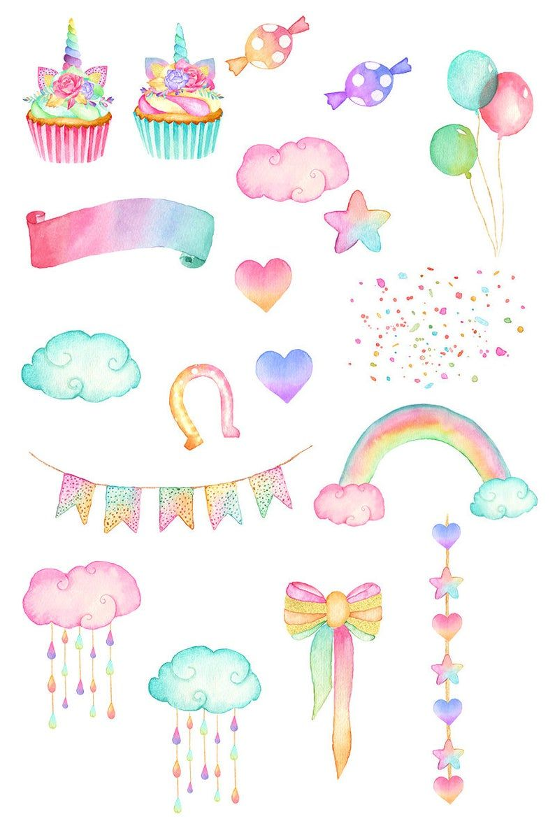 Watercolor Unicorn Face Clipart, Magical Unicorns, Babyshower Clipart, Watercolor Png, Clouds, Rainb - Unicorn illustration, Clip art, Unicorn face, Kawaii doodles, Cute stickers, Digital sticker - commercialbasiclicensewatercolor ref shop home feat 1♥ WATERCOLOR BEAUTY ♥
