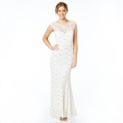 Jolie Petite Womens Glitter Lace Bridal Gown