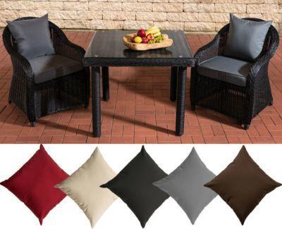 Polyrattan Sitzgruppe SAN JUAN, schwarz, Klarglas, 3 Tischgrößen