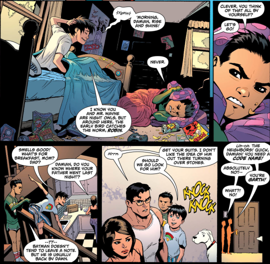Damian's first sleepover<<< omg I really need to start reading super
