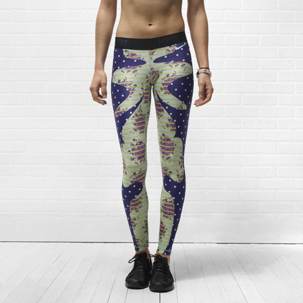Nike Pro Floral Bazaar Printed Women's Tights - Midnight Navy, M ($90) found on Polyvore