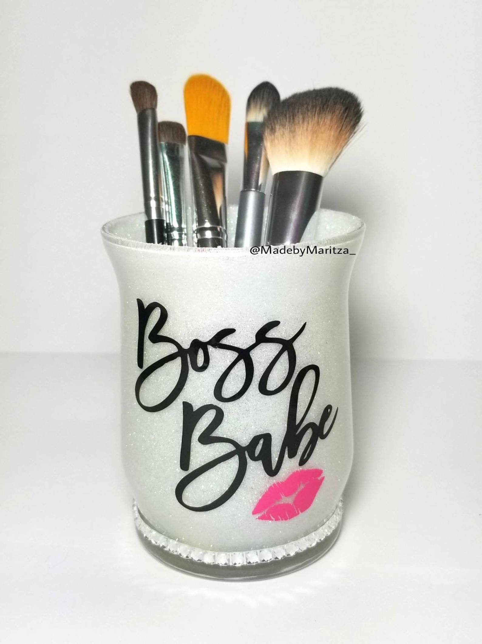 White glitter makeup brush pen holder cup boss babe