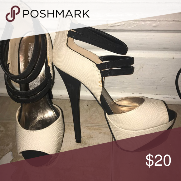 Black and white heels Perfect for going out Shoes Heeled Boots