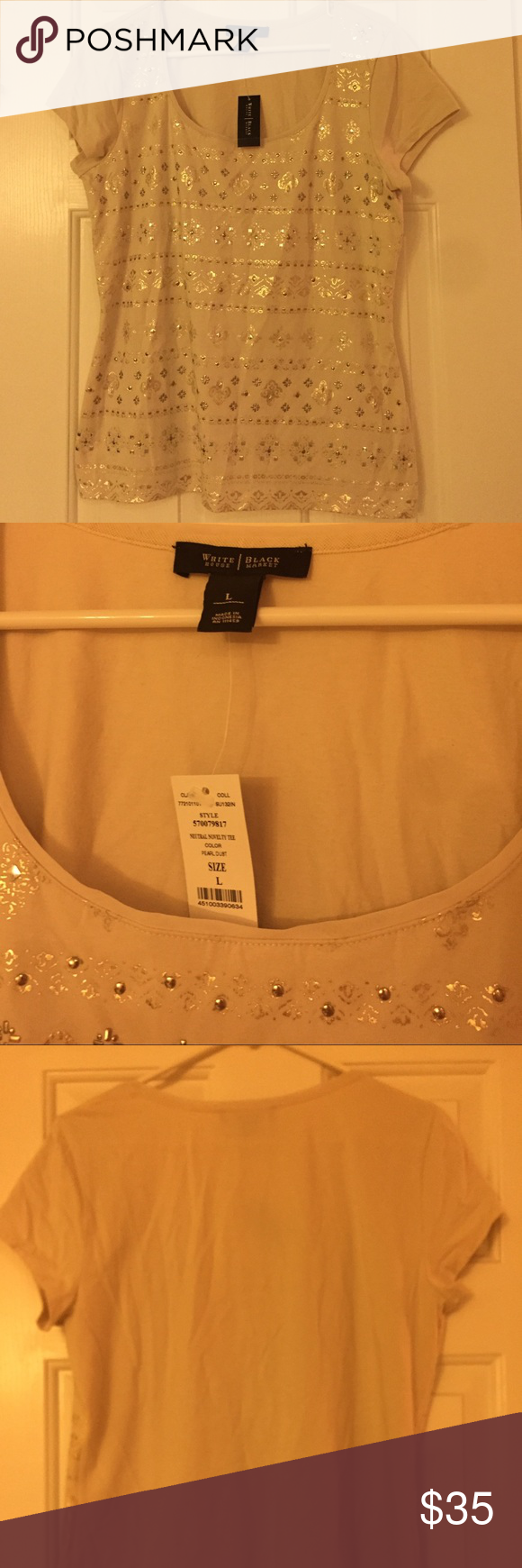 Whbm cream patterned top lnwt stretchy material white house
