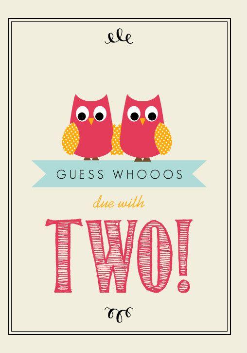 Whimsical Pink And Cream Owl Twins Baby Shower Invitation I Hope I