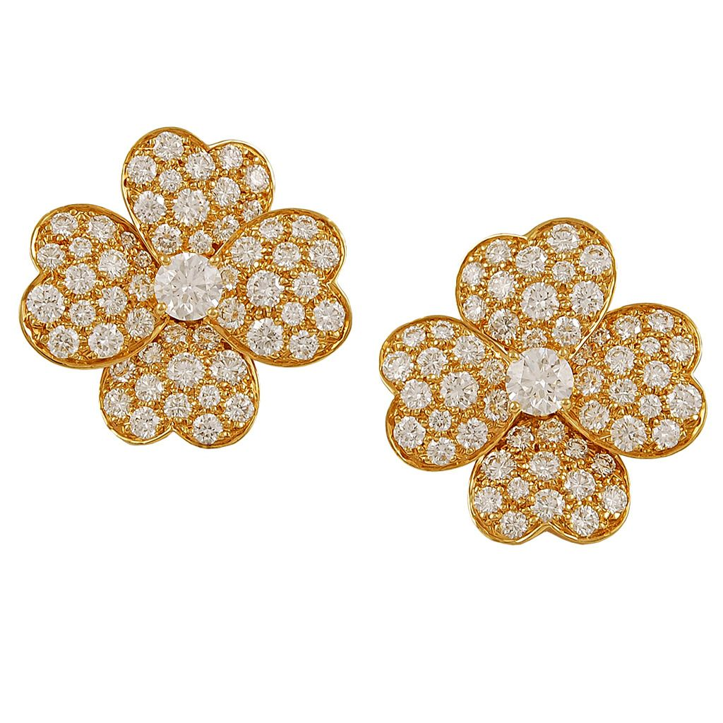 Van Cleef & Arpels Diamond Gold Cosmos Earrings | From a unique collection of vintage clip-on earrings at https://www.1stdibs.com/jewelry/earrings/clip-on-earrings/