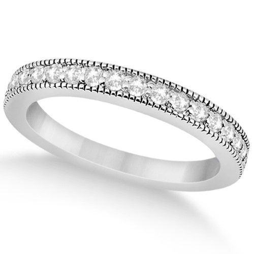 1cc9abd2323 Pave Set Diamond Wedding Band Milgrain Edged in Platinum (0.34ct ...