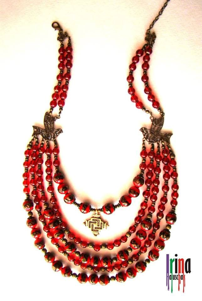 multi strand glass beads necklace ukrainian traditional necklace with birds