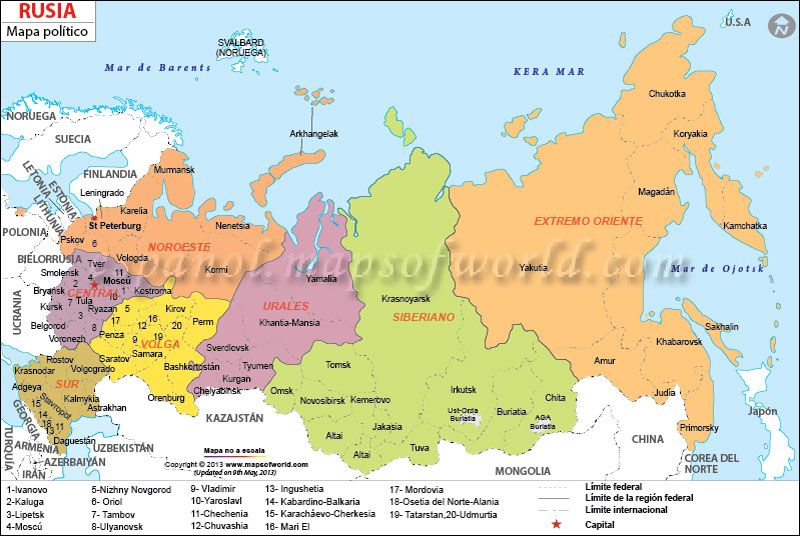 El Mapa De La Federacion De Rusia Mapa Paises Rusia Mapa De Europa