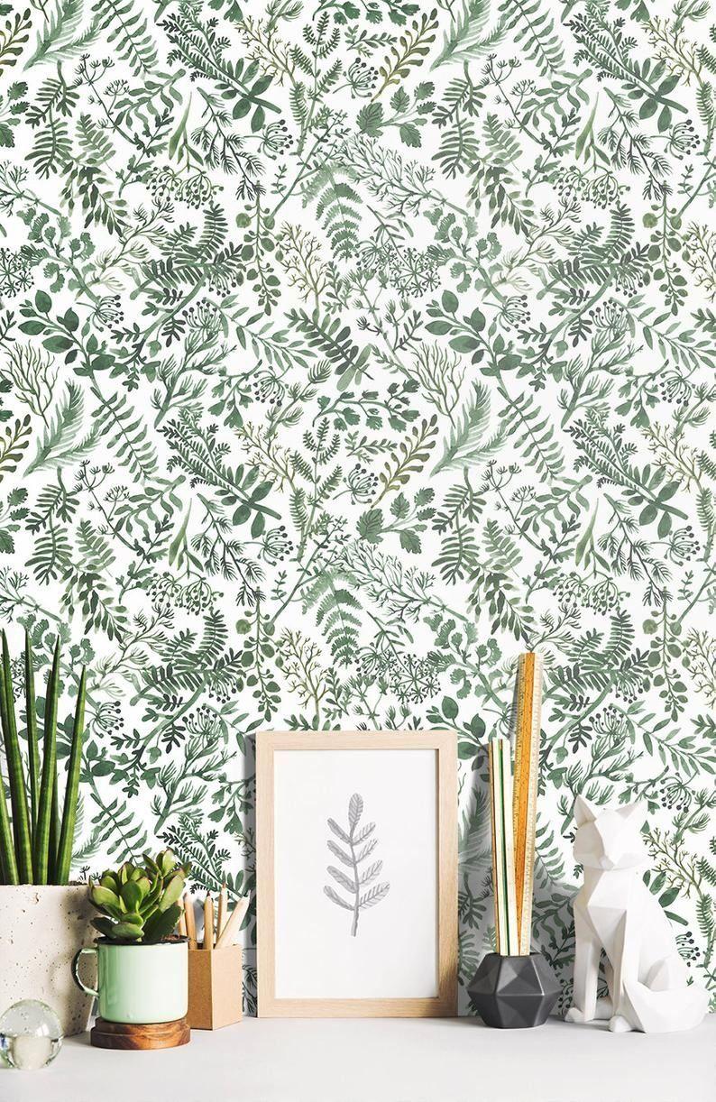 Wallpaper Botanical Plant Green Herbs Leaves On White