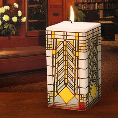 Candle adapted from the William Heath House art glass window, designed by Frank Lloyd Wright ca. 1903