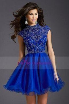 2015 Homecoming Dresses A Line High Neck Sleeveless Tulle Zipper Up Back US$169.99 PGNPP61BQ7B - PromGarden.com
