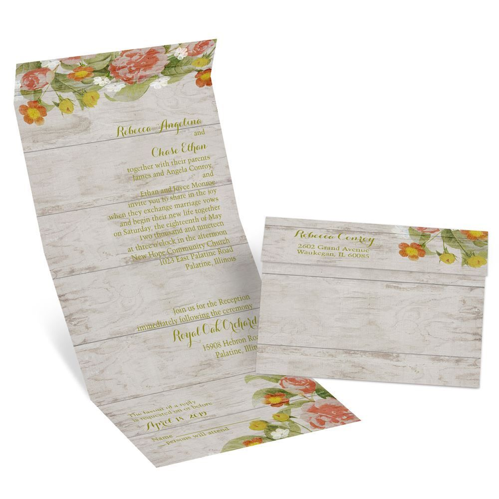 Shabby Chic Floral Seal And Send Invitation Shabby Chic Style