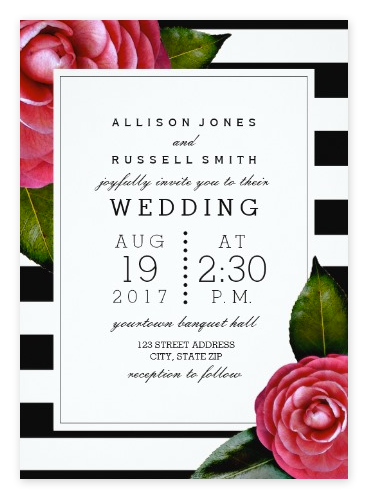 Pink Roses And Black White Striped Wedding Invitations From Zazzle