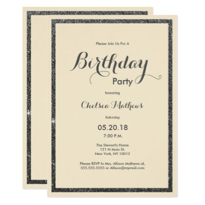 Modern Ivory Elegant Black Faux Glitter Birthday Card Glitter   Birthday  Card Sample  Birthday Card Sample