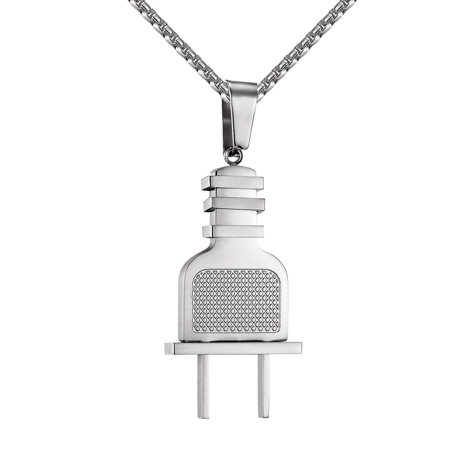 Stainless steel switch plug designer pendant free necklace set men