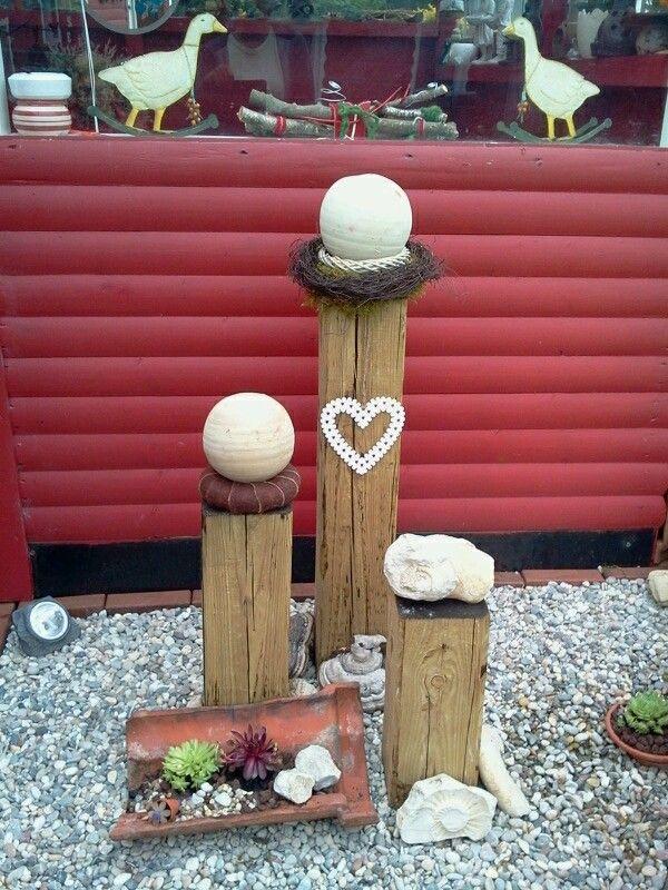 Gartendeko mit Holzbalken Im Garten + Ideen Pinterest - gartendekoration aus holz