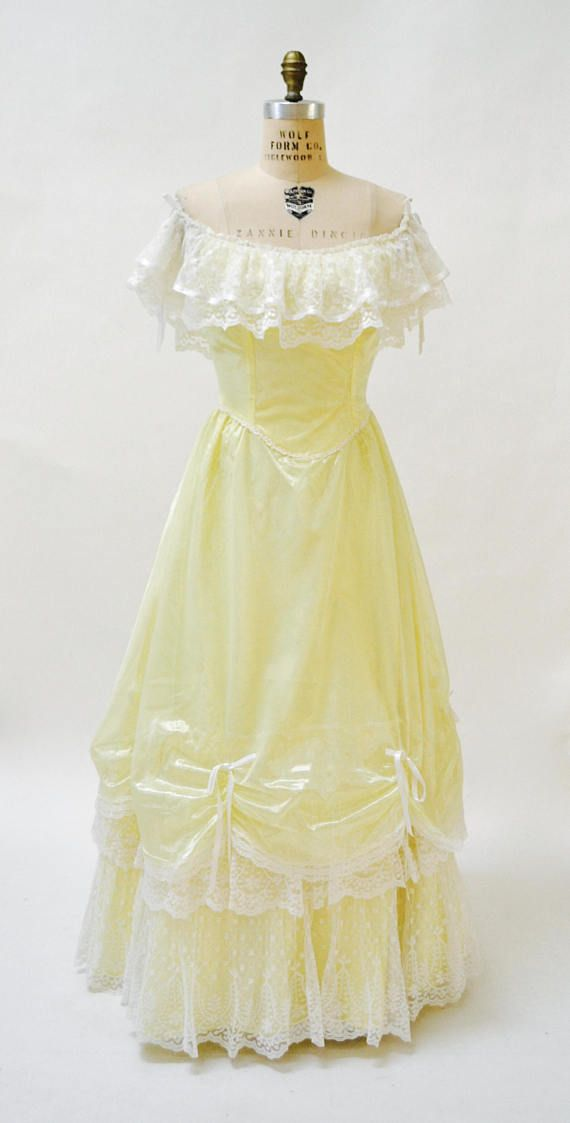 Vintage 80s Prom Dress Medium Yellow White Lace Bell Princess ...