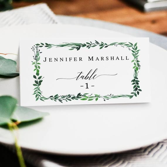 Greenery place card template DIY place cards printable ...
