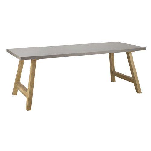 Table de salle à manger effet béton ciré L 220 cm | Home | Table ...