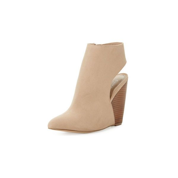 32ed897ade93 Charles By Charles David India Open-Back Suede Wedge Bootie ( 69) ❤ liked  on Polyvore featuring shoes