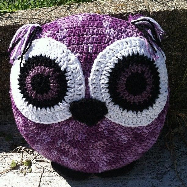 Purple Crochet Owl Pillow Craft Ideas Pinterest Crochet Owl