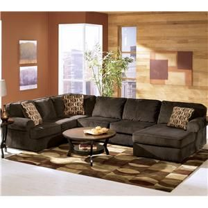 Vista   Chocolate Casual 3 Piece Sectional With Left Chaise By Ashley  Furniture