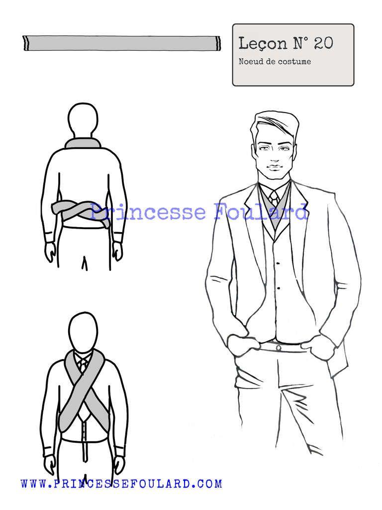 69c4d87f3066 Tutoriel pour noeud de foulard et écharpe pour costume d homme façon dandy  chic, nouer son foulard en portant un costume trois pièce ou smoking.