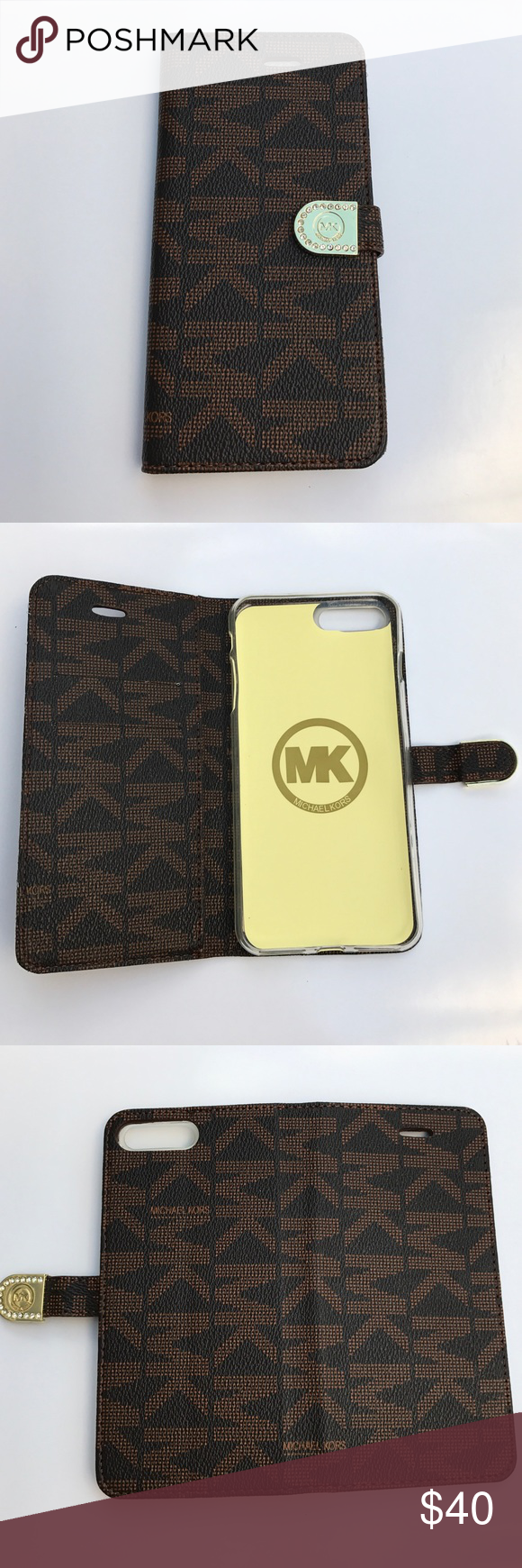 new product db972 eda2d Michael Kors wallet case iPhone 7 Plus brown New Michael Kors iPhone ...
